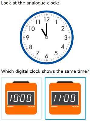 Ixl Match Analogue And Digital Clocks Primary 1 Maths